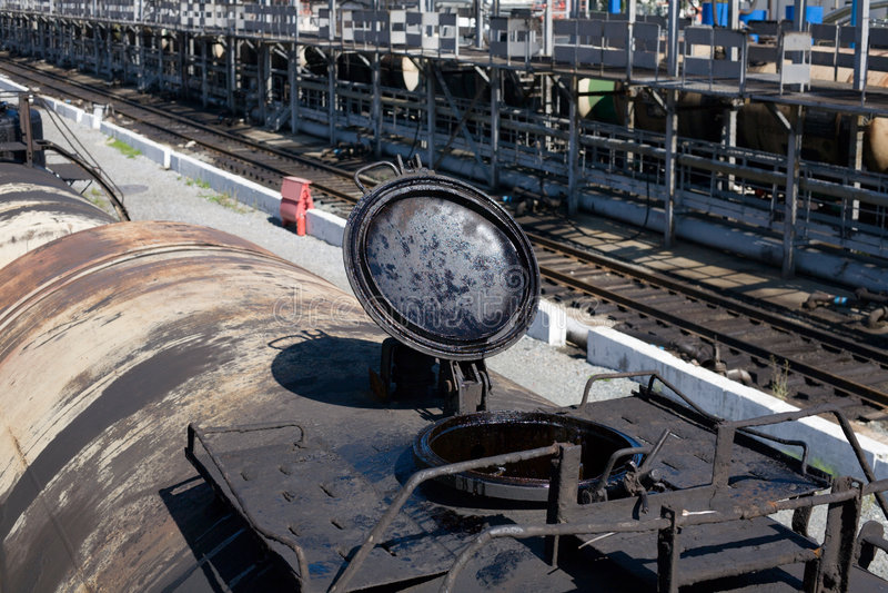 Railroad tank fuel stock photo