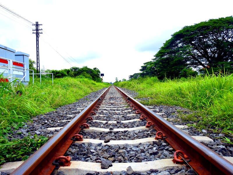 Railroad in thailand. stock photo
