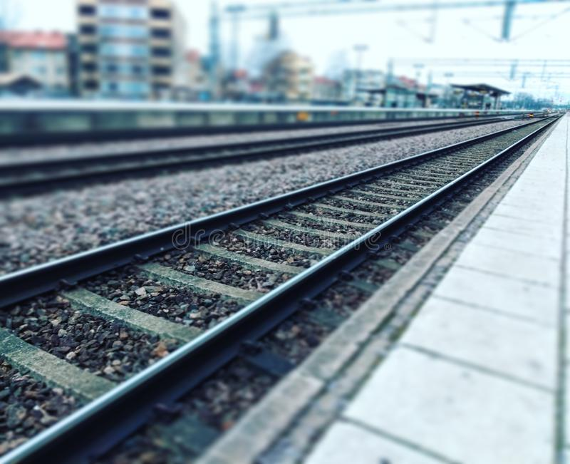 Railroad to the future. Train, adventuee, adventure, track, travel, unknown, exploration, discovery, learning, growing, forward, advances, platform, industry stock photo