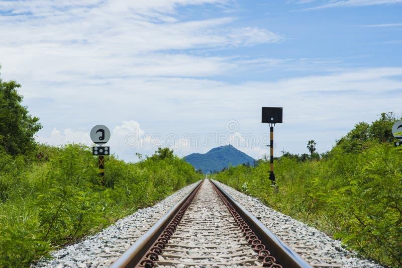 Railroad to the mountain stock photos