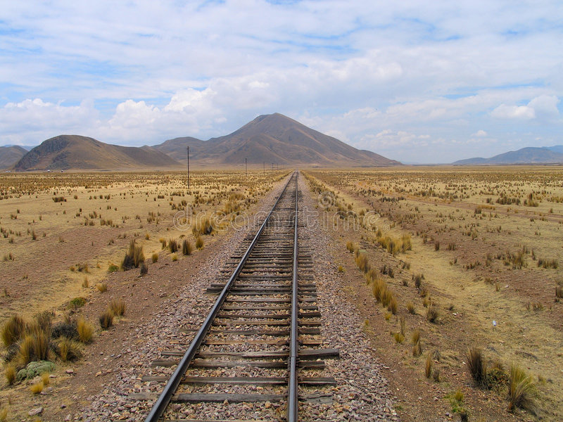 Railroad-track on the Altiplano (Peru) stock photography