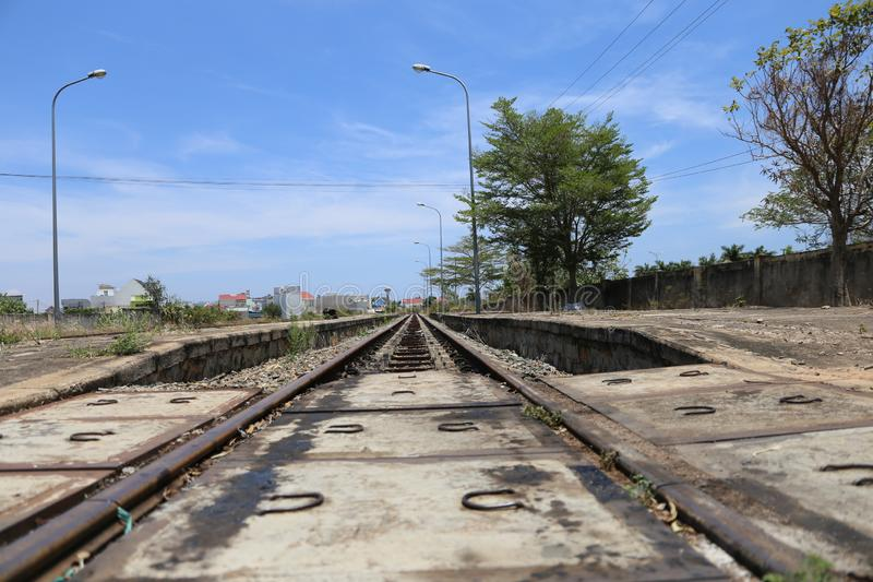 The railroad track is empty without 1 person stock photos