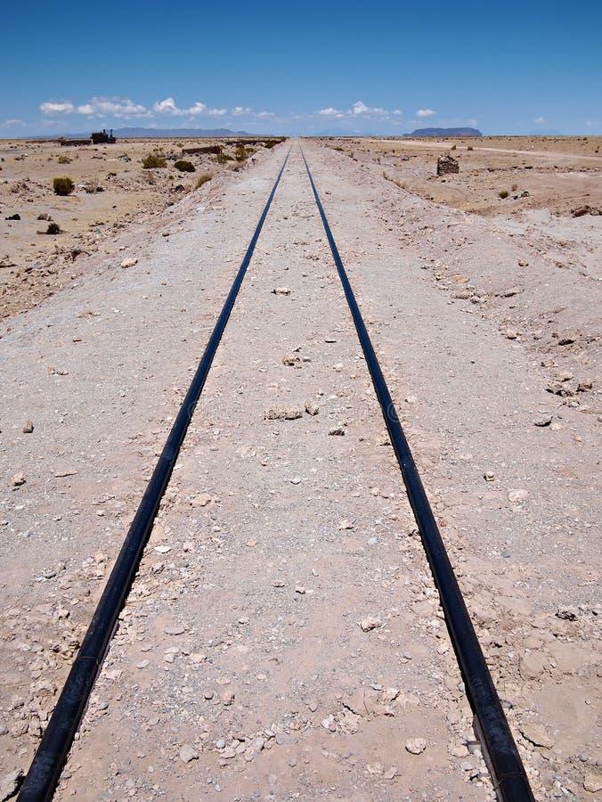 Railroad track leading nowhere stock image