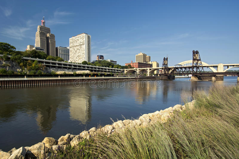 Railroad track and Robert Street Bridge. Downtown Saint Paul, Minnesota royalty free stock images