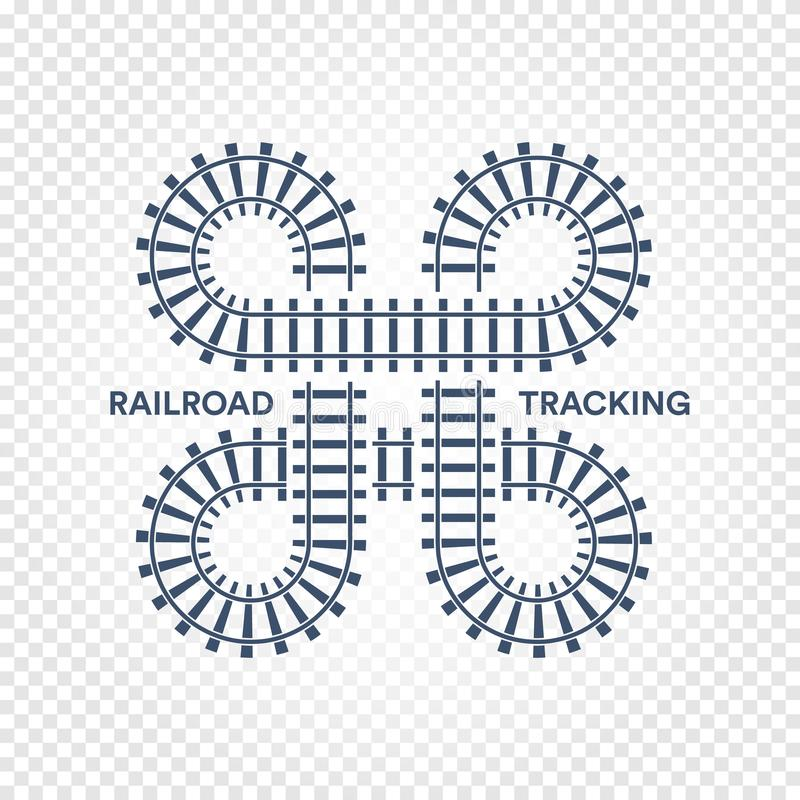 Railroad tracking road junction with turns and bridges vector illustration on white transparent background. vector illustration