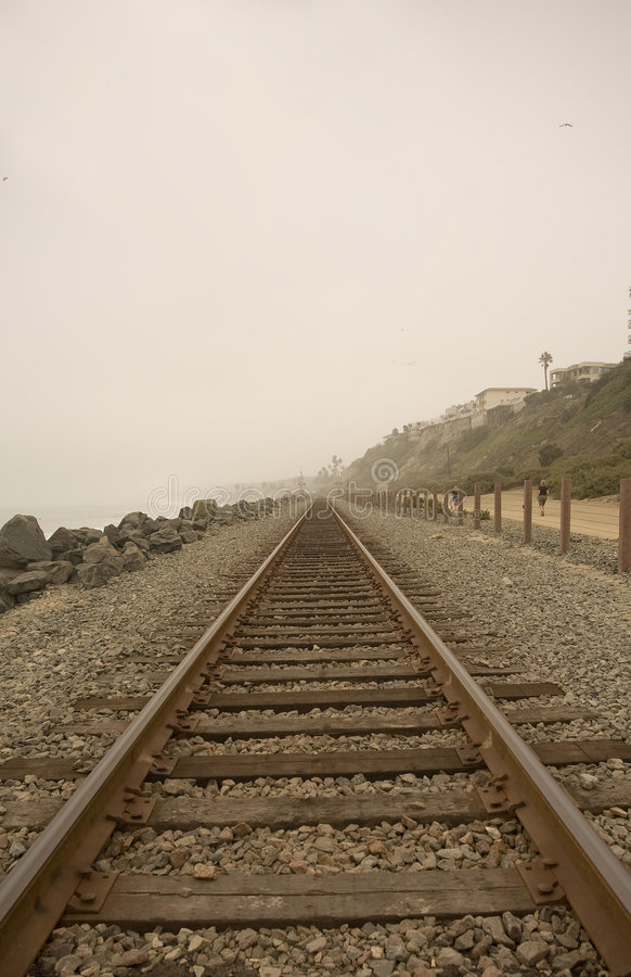 Railroad Tracks at 204 in San Clemente. On a foggy day royalty free stock photography