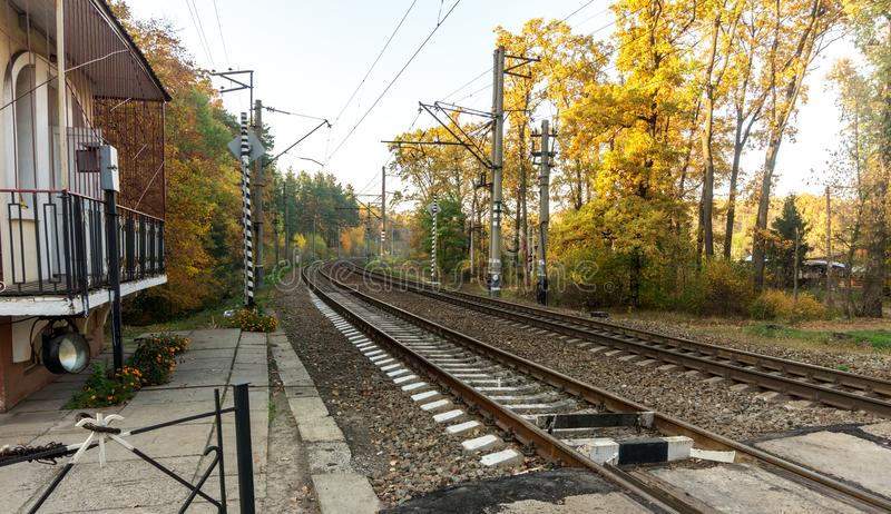 Railroad tracks on the background of autumn forest stock images