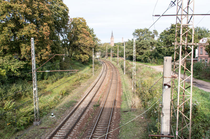 Railroad tracks changing direction. stock photography
