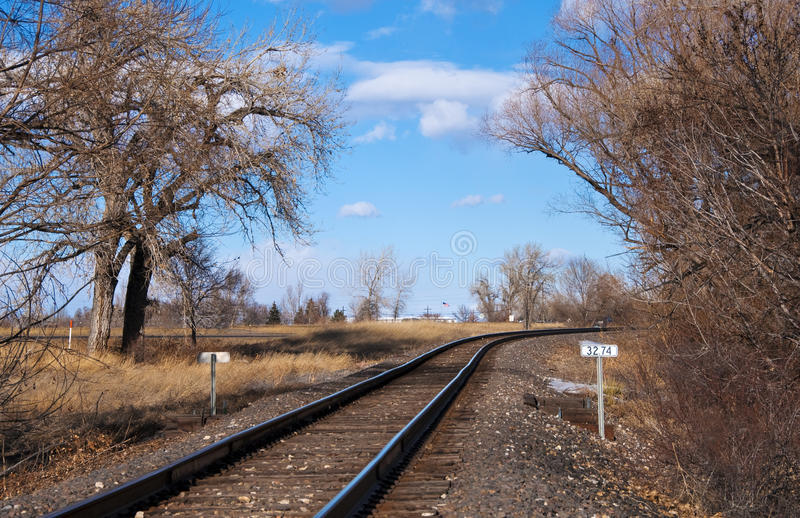 Download Railroad Tracks Curving To The Right Stock Image - Image of right, clouds: 12863631