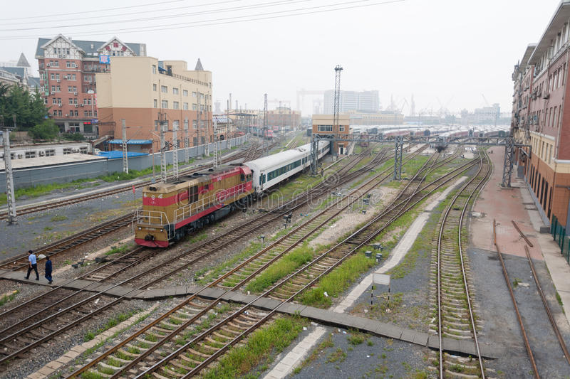 Download Railroad Tracks In Dalian, China Editorial Stock Image - Image of transport, cargo: 39507684