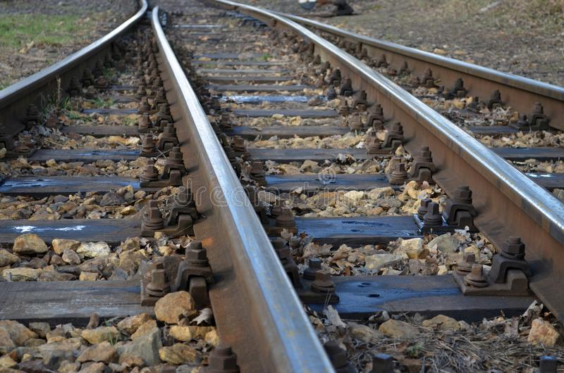Railroad tracks. Detailed close look stock photo