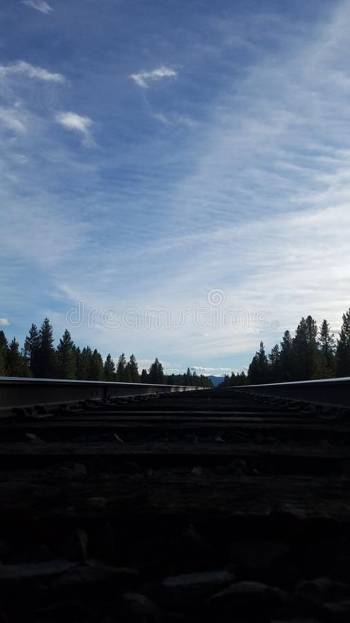 Railroad tracks from a different perspective royalty free stock image