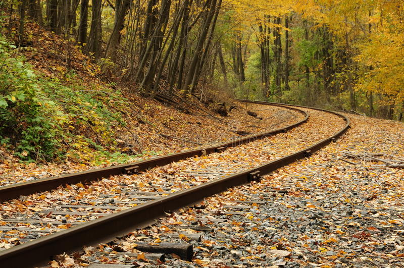 Railroad Tracks in the Fall stock photo