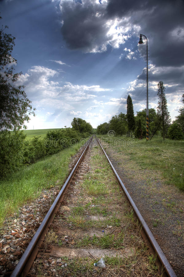 Download Railroad tracks in nature stock image. Image of direction - 9544477