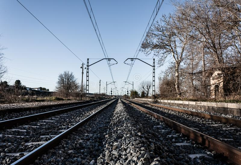 Railroad tracks perspective. Traveller way. stock images