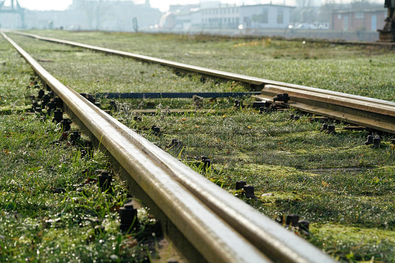 Railroad tracks. In the port of Magdeburg royalty free stock images