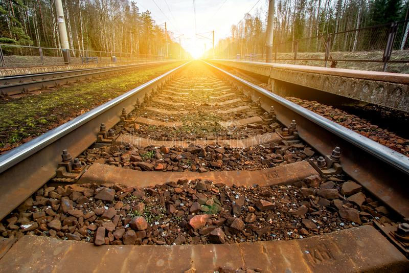 Railroad tracks receding to the horizon. Line royalty free stock image