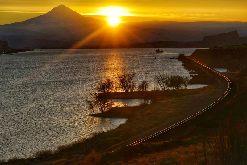 Sunset, Columbia River Gorge, Washington State stock photo