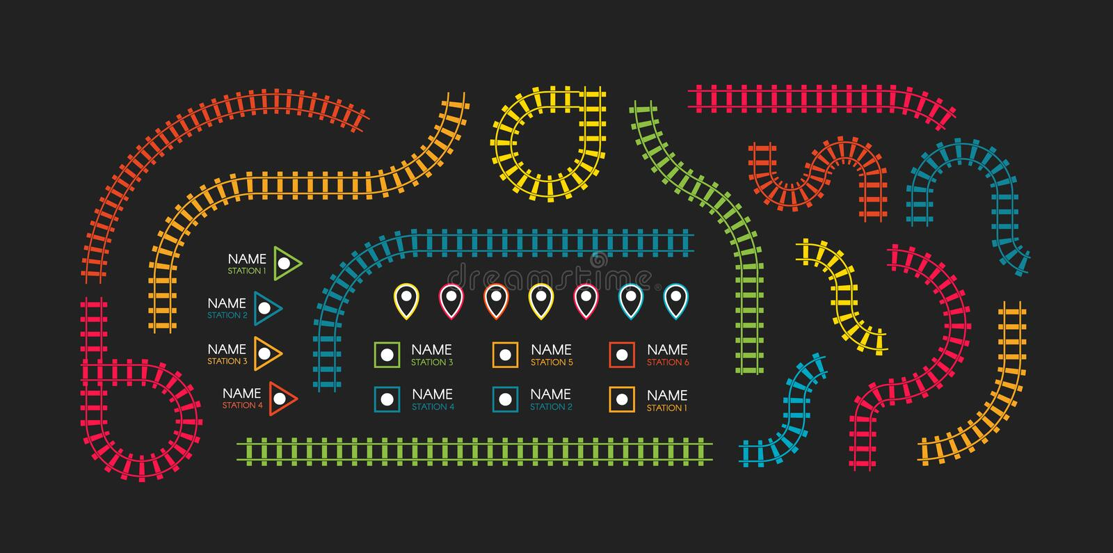 Railroad tracks, subway stations map top view, infographic elements. Railway simple icon set, rail track direction. Train tracks colorful vector illustrations vector illustration