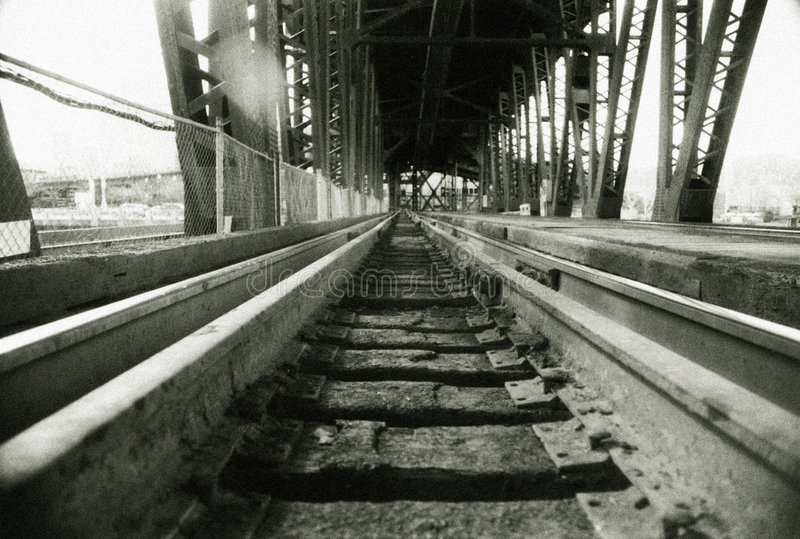 Download Railroad Tracks On Train Bridg Stock Image - Image: 5381927