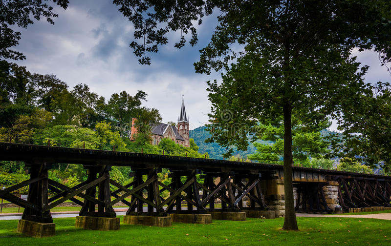 Railroad tracks and view of a church in Harper's Ferry, West Vir royalty free stock images