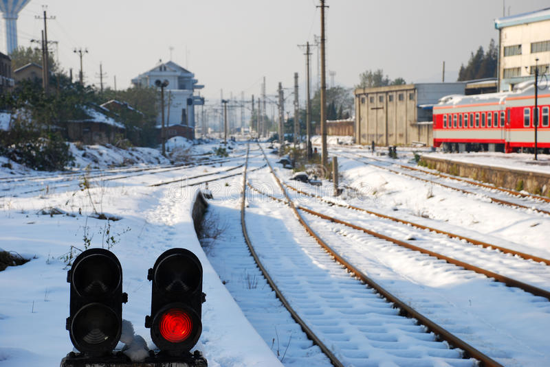 Download Railroad Traffic Signal Light In Winter Stock Image - Image: 11843897