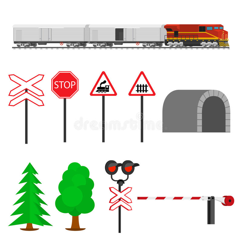 Railroad traffic way and train wagons with refrigerators. Train transportation. royalty free illustration