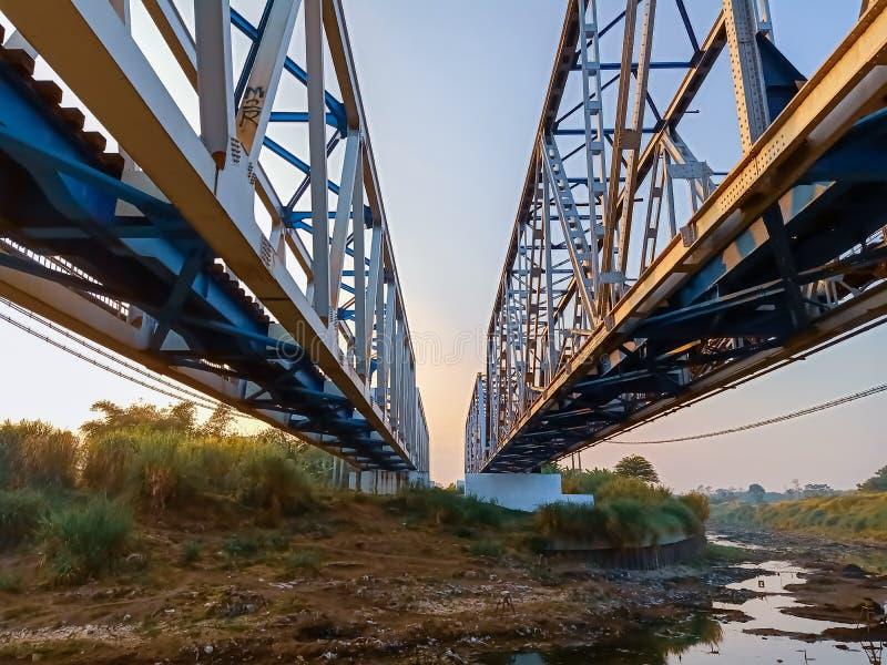 Railroad transport bridge infrastructure across the river stock photo