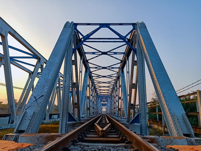 railroad transport bridge infrastructure across the river royalty free stock photo