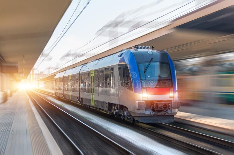 Railroad travel passenger train with motion blur effect, industrial concept, tourism royalty free stock photos