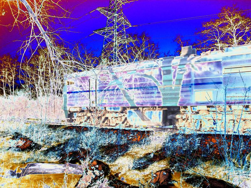 Railroad travel passenger train with motion neon effect stock illustration