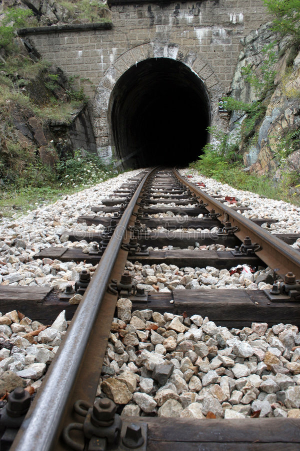 Railroad and tunnel royalty free stock photo