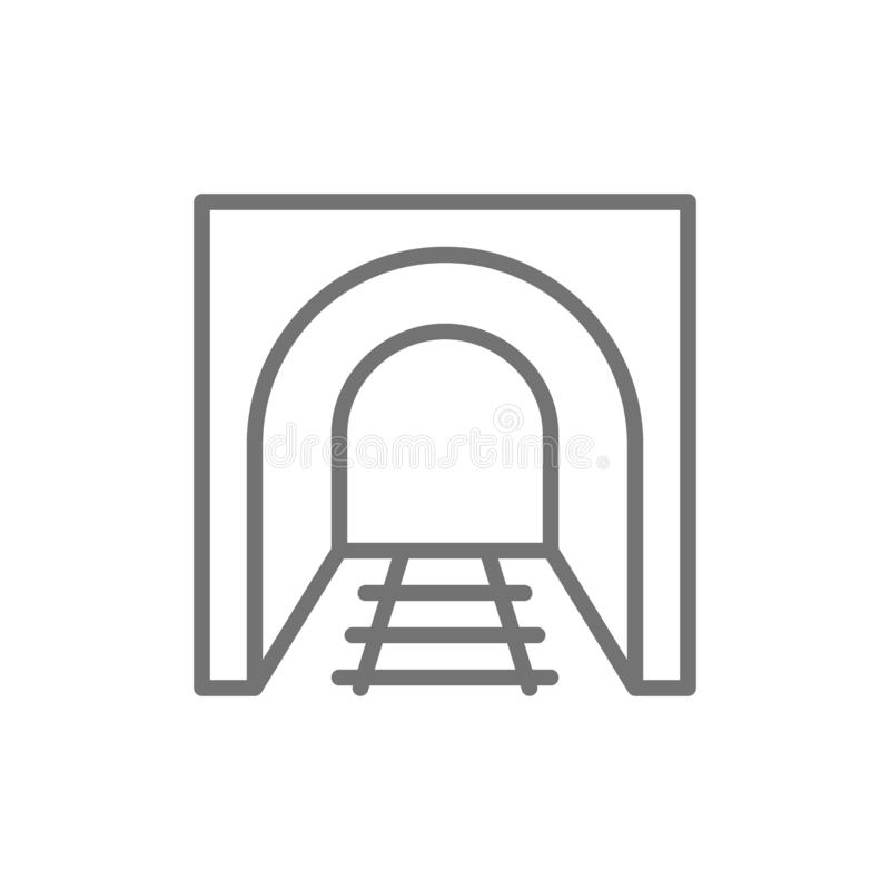 Railroad tunnel with rails, railway road, subway line icon. Vector railroad tunnel with rails, railway road, subway line icon. Symbol and sign illustration vector illustration