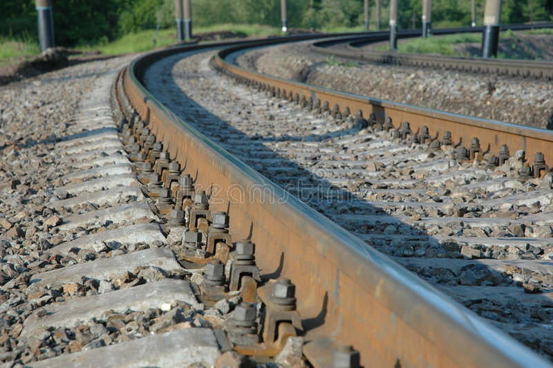 Railroad turns to the right royalty free stock images