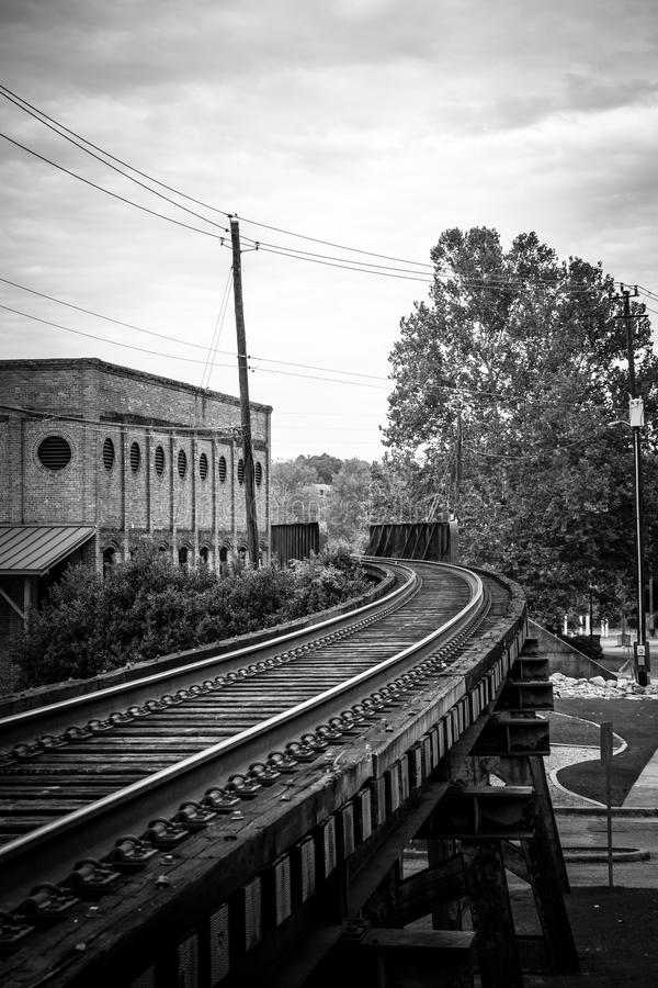Railroad Uptown Columbus, GA royalty free stock photography