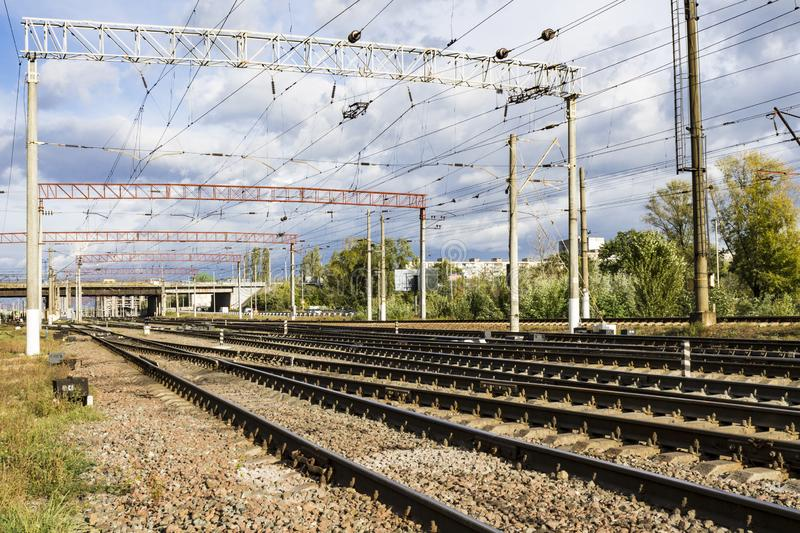 Railroad urbanistic landscape. No people. Perspective view royalty free stock photo