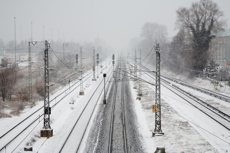 Download Railroad in winter stock image. Image of shot, snow, rails - 24183889