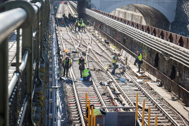 Railroad works on metro tracks royalty free stock photo