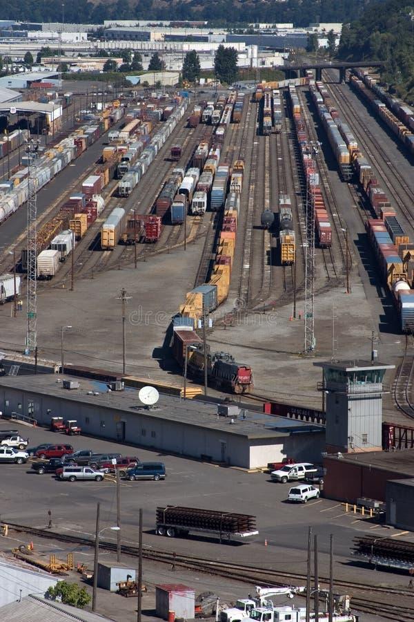 Railroad yard in Portland, Oregon royalty free stock photos