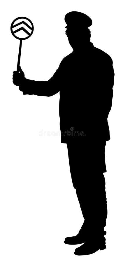 Railroader в равномерном силуэте Железнодорожный человек на обязанности бесплатная иллюстрация