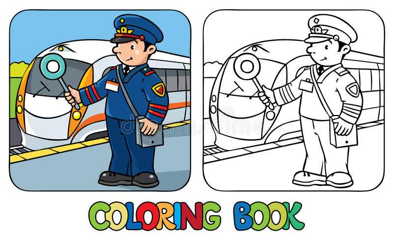 Railroader divertido Libro de colorante libre illustration