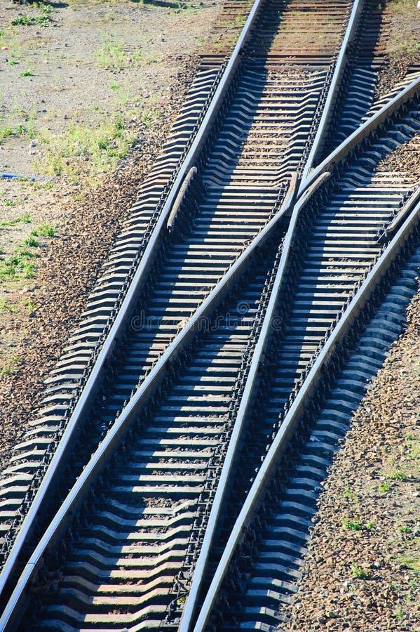 Rails. Metal rails on the railroad junction stock photos