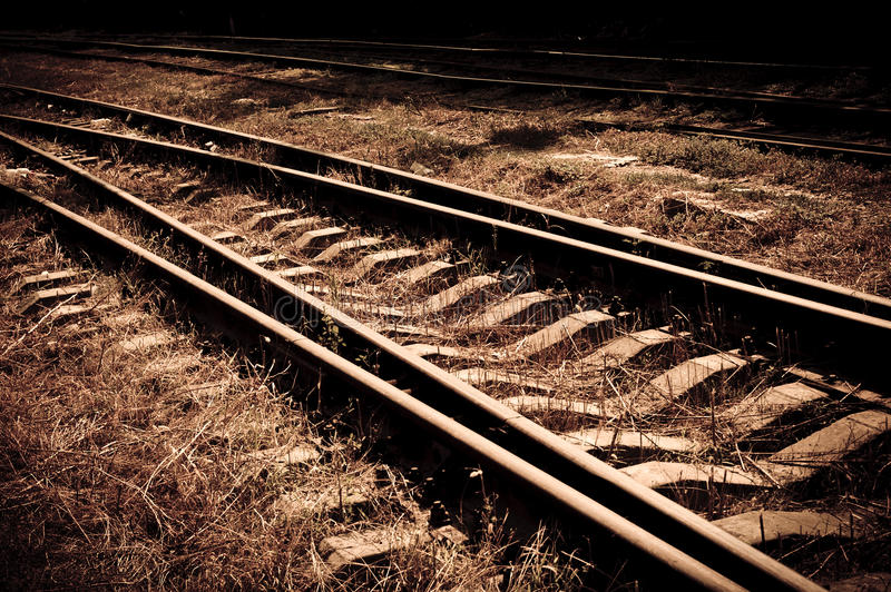Rails. Image in dark tones stock photography