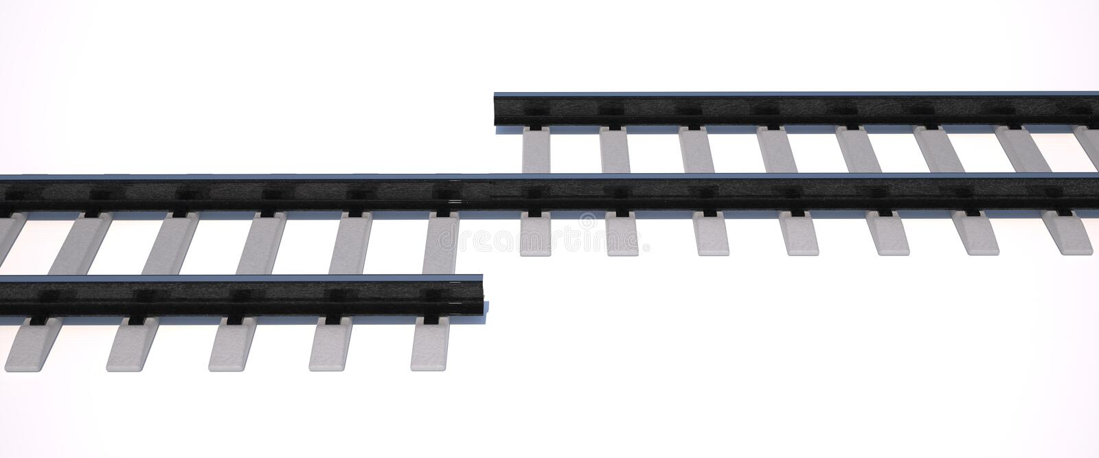 Rails. Strange rails which can't be used royalty free stock images