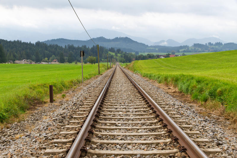 Rails in anture. Rails in bavaria, Germany Allgäu stock photography