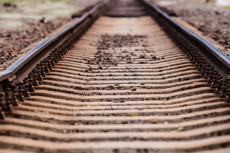 Rails. Centered with brown color stock photos