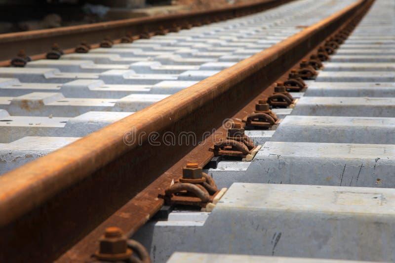 Rails. Close-up of rails on sleeper stock photos