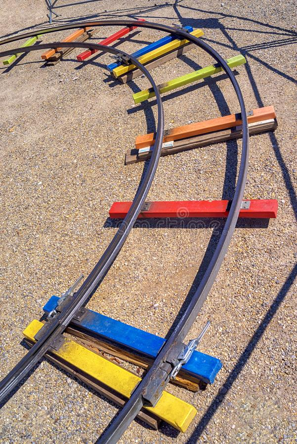Rails of a fun train royalty free stock photography