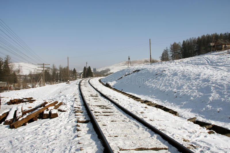 Download Rails in the hillside stock photo. Image of snow, rail - 18697088