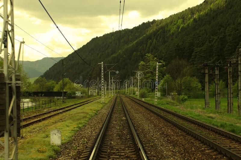 Rails. Making lines in the country in Slovakia royalty free stock image